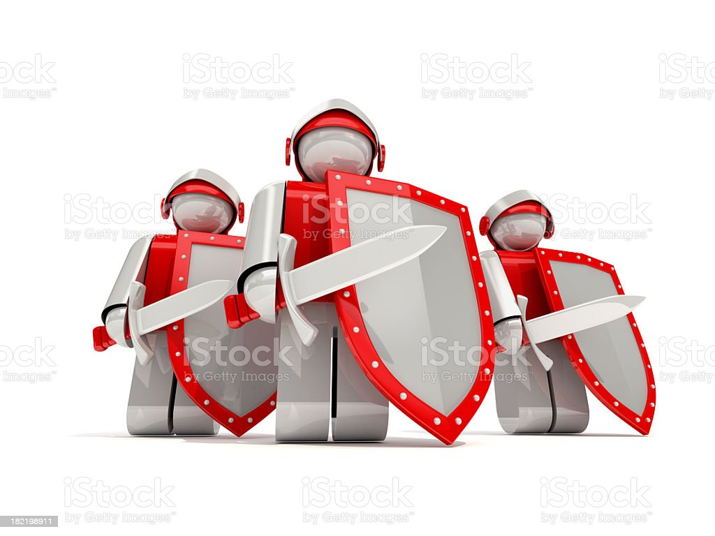 Animated knights with red and silver swords stock photo