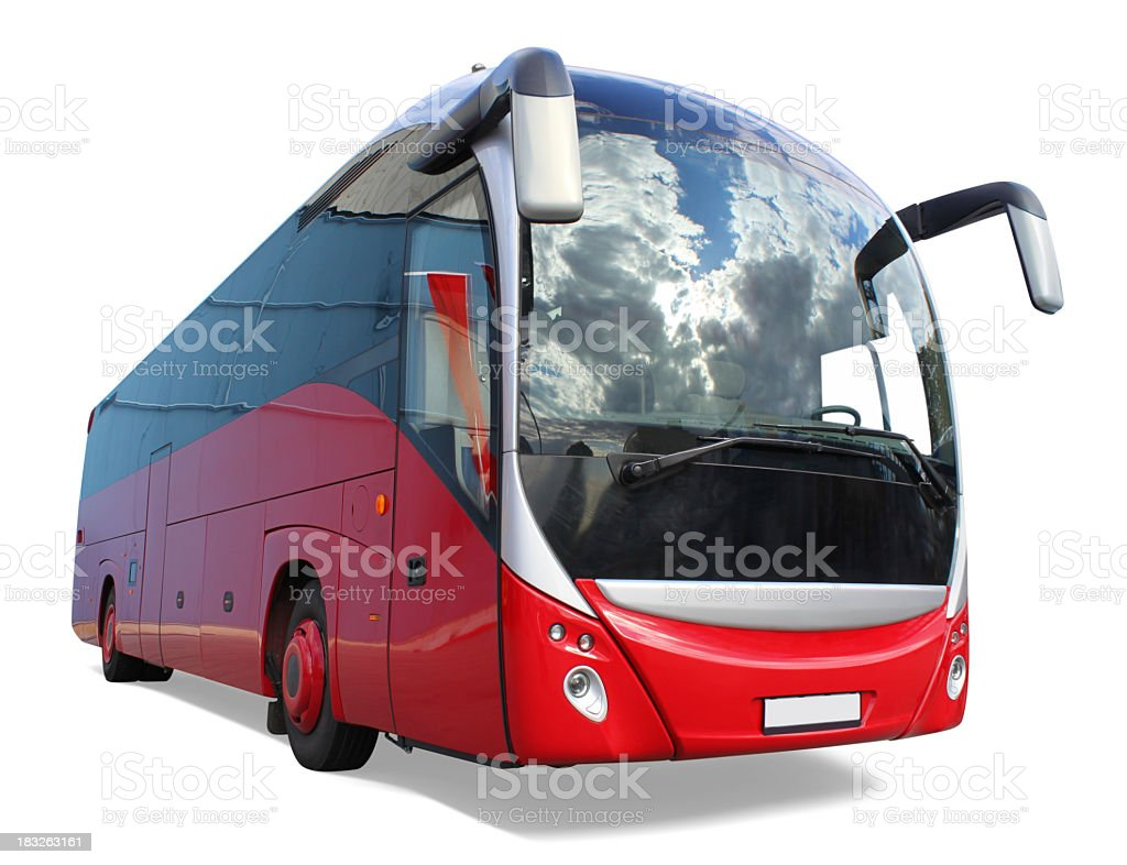 Animated model of red tour bus stock photo