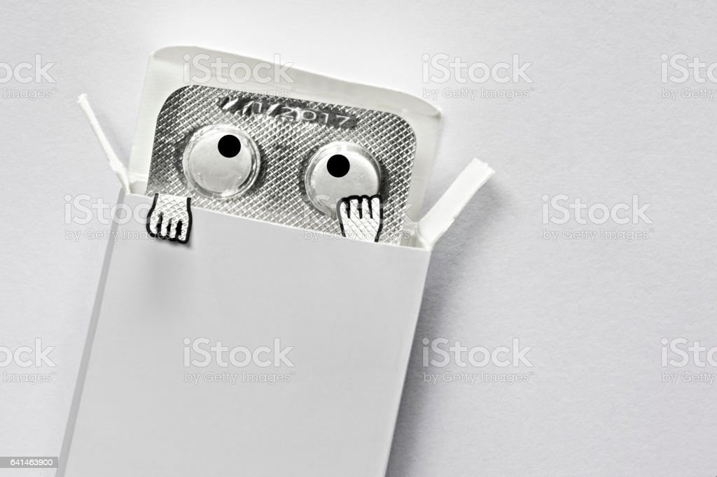 Animated out of date medicine looks worried stock photo