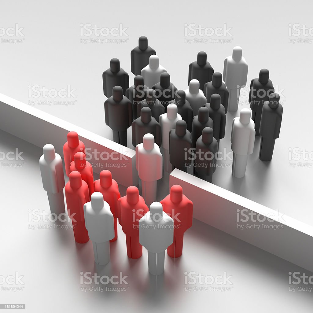 Animated people icons welcoming a new member to their group stock photo