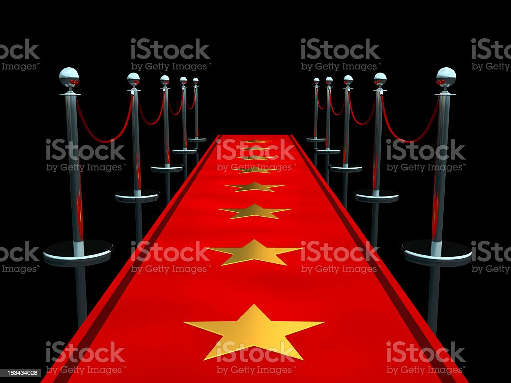 Animated red carpet with starts stock photo