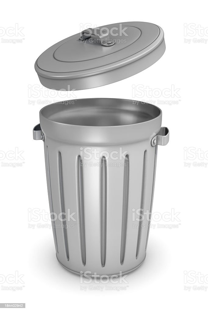 Animated trash bin with the lid hovering royalty-free stock photo