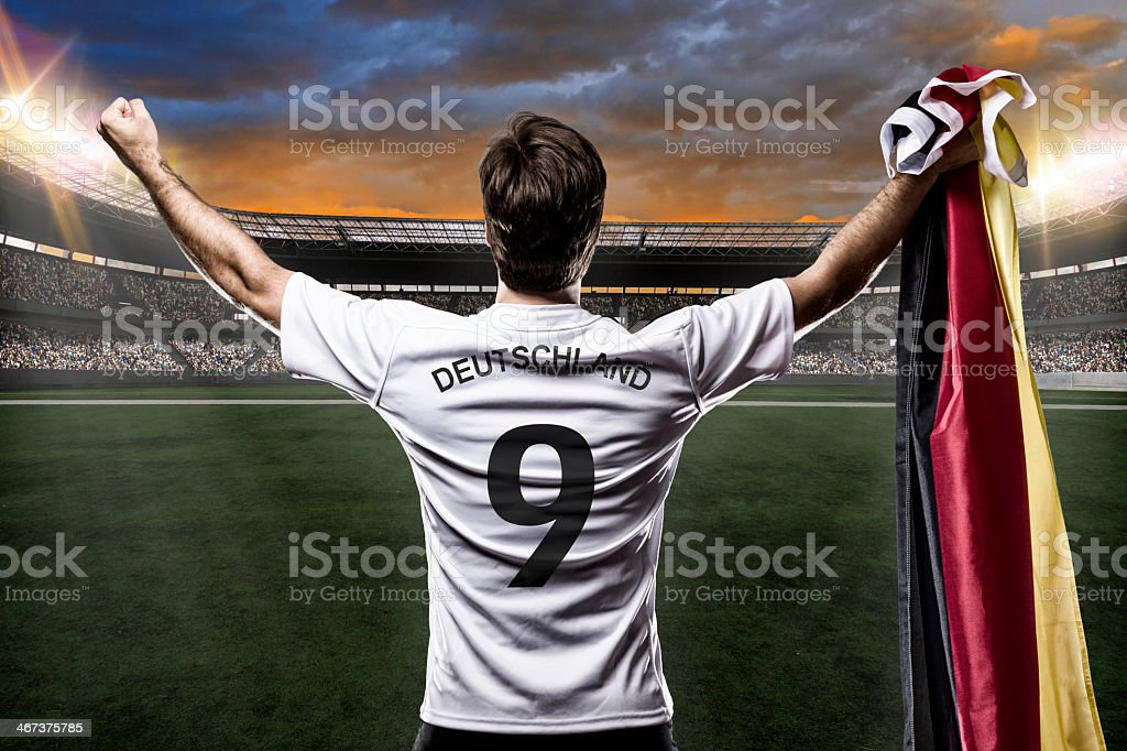 Animation of a German soccer jersey in a stadium with a flag stock photo