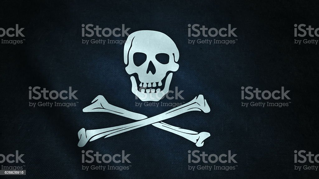 animation of pirate flag closeup stock photo