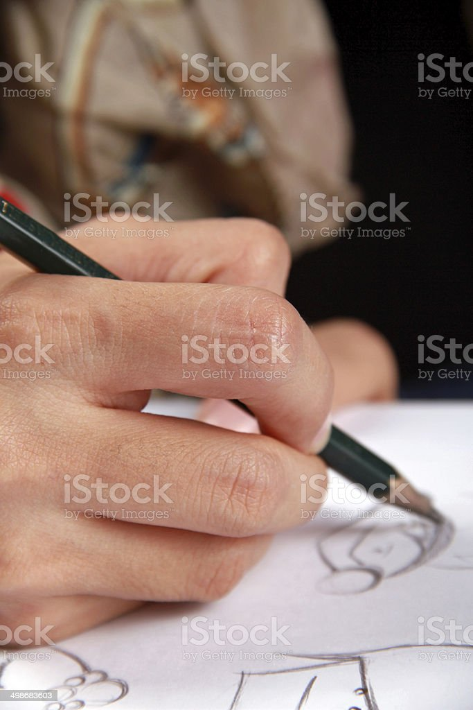 Animator is drawing a character stock photo