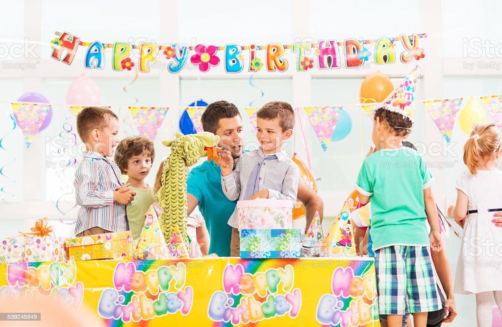Animator on a Birthday party. stock photo