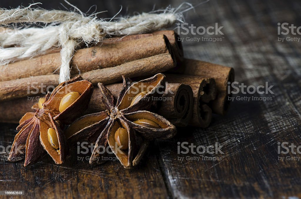 Anise and cinnamon royalty-free stock photo