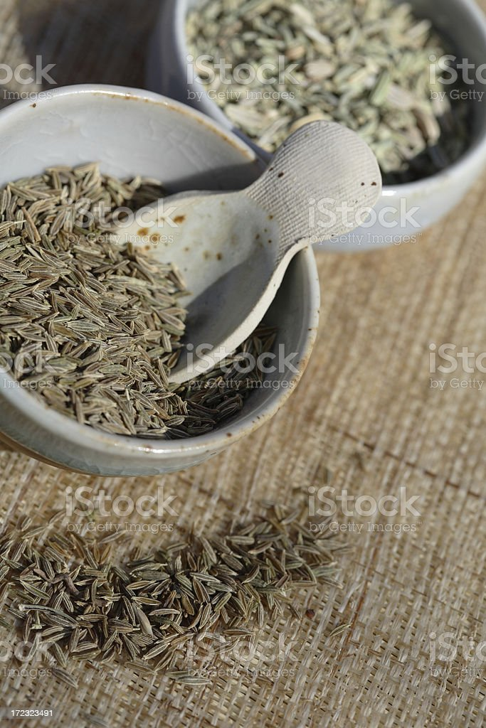 Anise and cumin seeds. royalty-free stock photo
