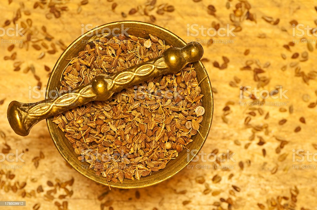 anise seed with mortar royalty-free stock photo