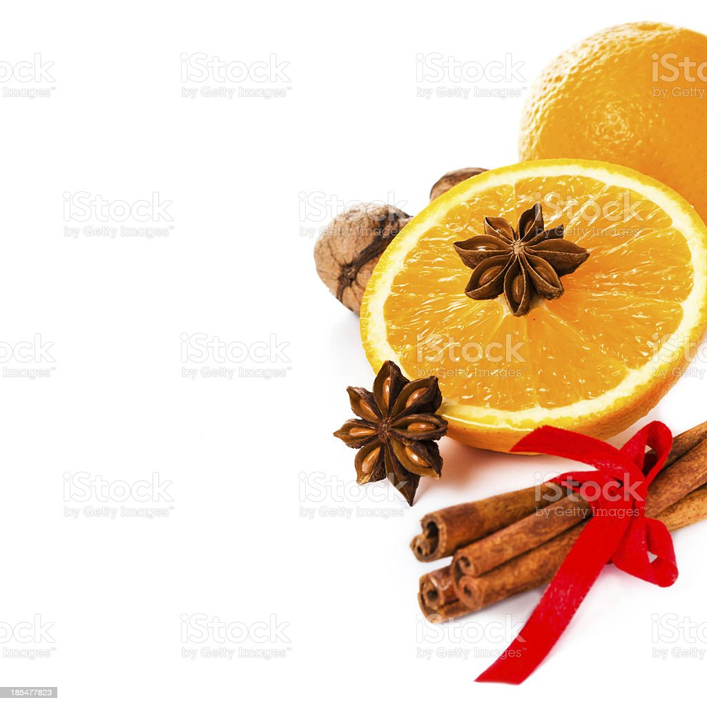 Anise star, Cinnamon stick and fresh orange, Christmas spices f royalty-free stock photo