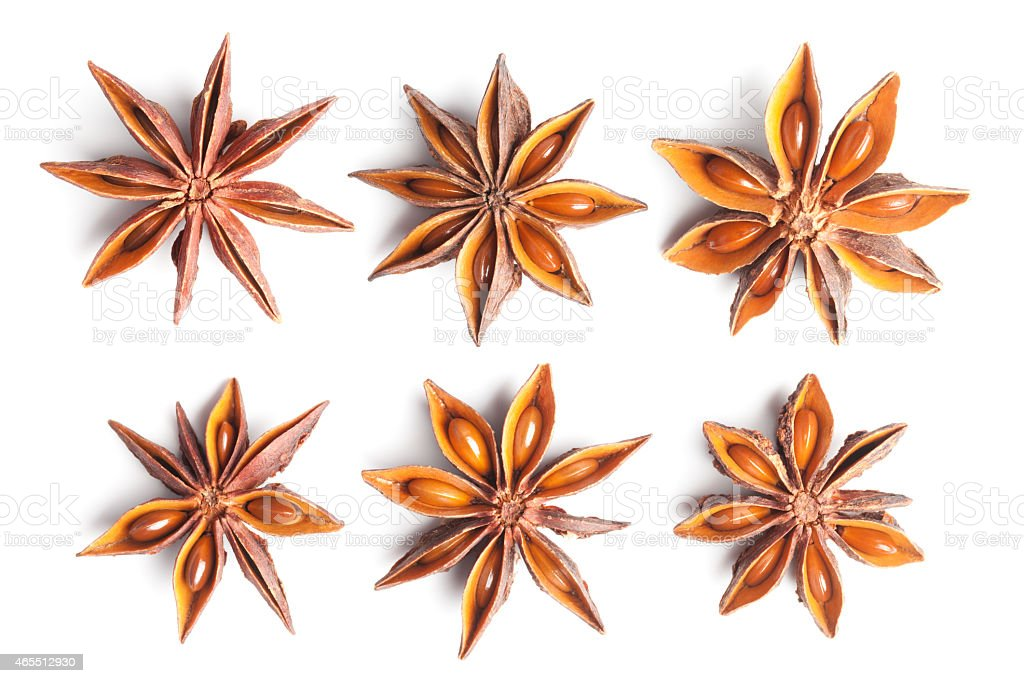 Anise stars collection on white stock photo