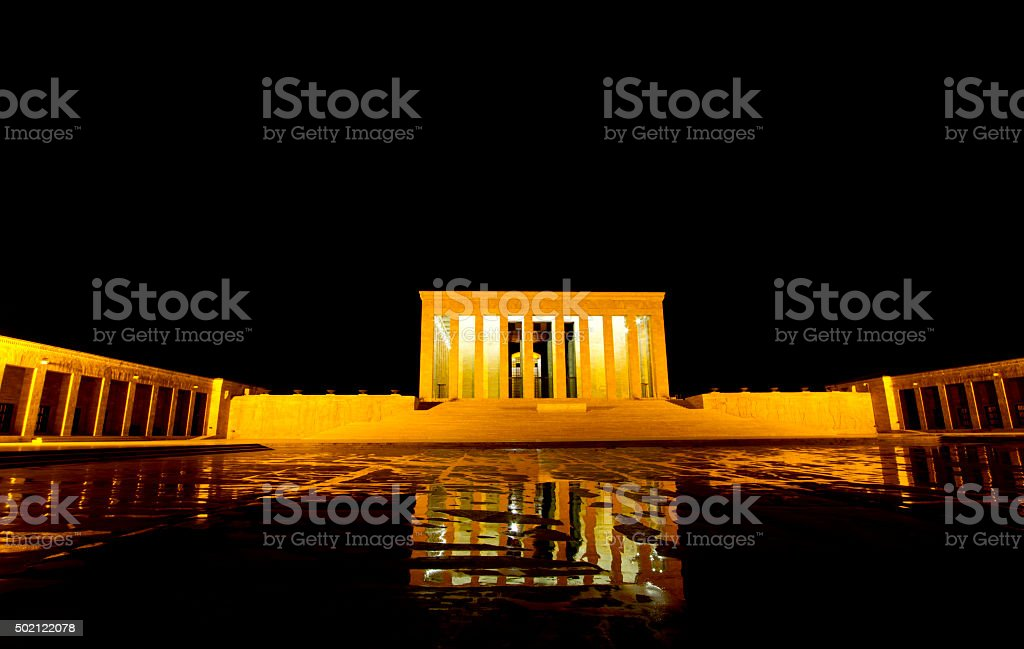 Anitkabir at night - Ataturk Mausoleum stock photo
