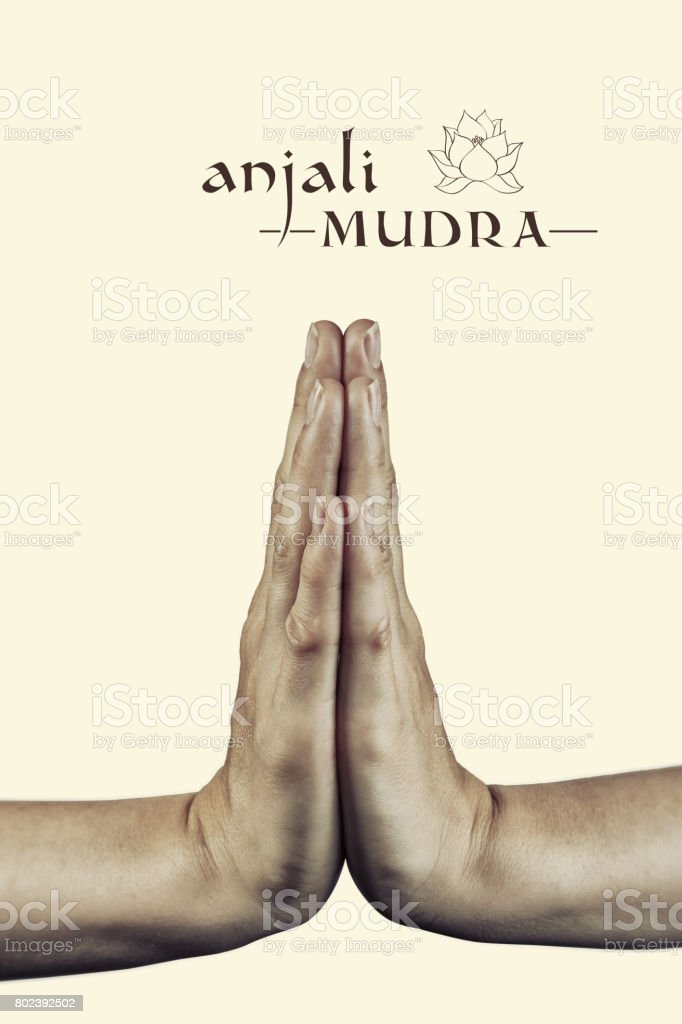 Anjali mudra. stock photo
