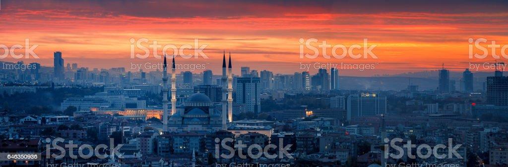 Ankara and Kocatepe Mosque in sunset stock photo