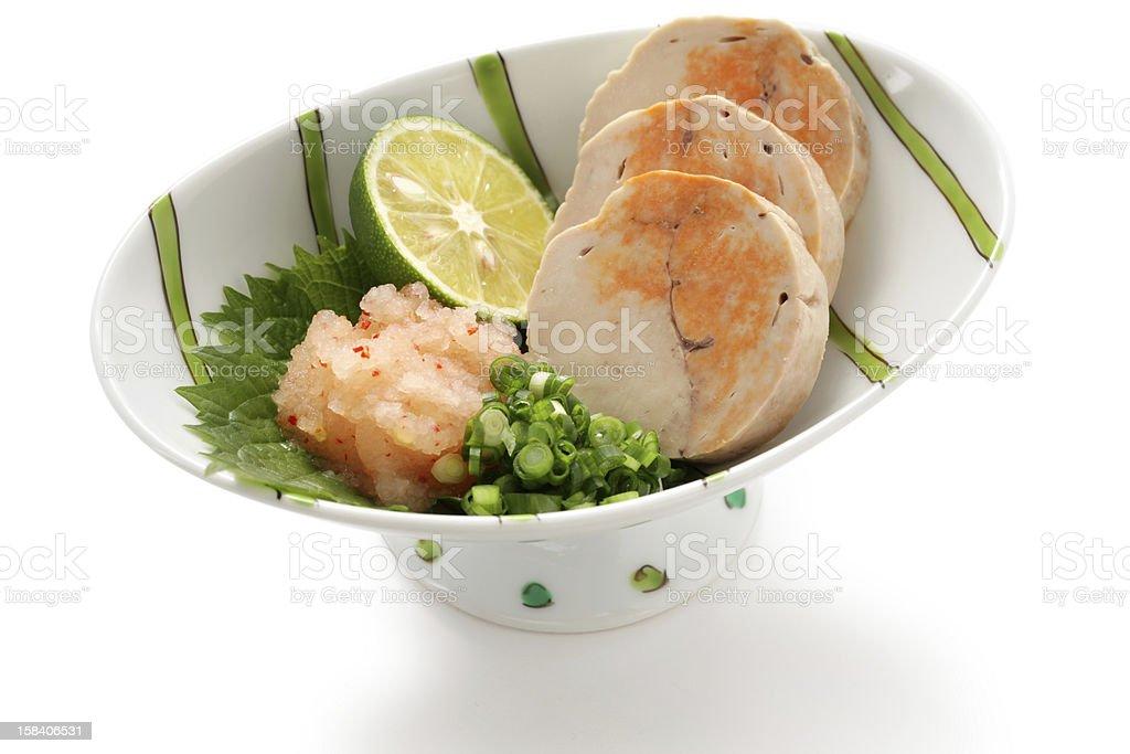ankimo, steamed monkfish liver, japanese cuisine stock photo