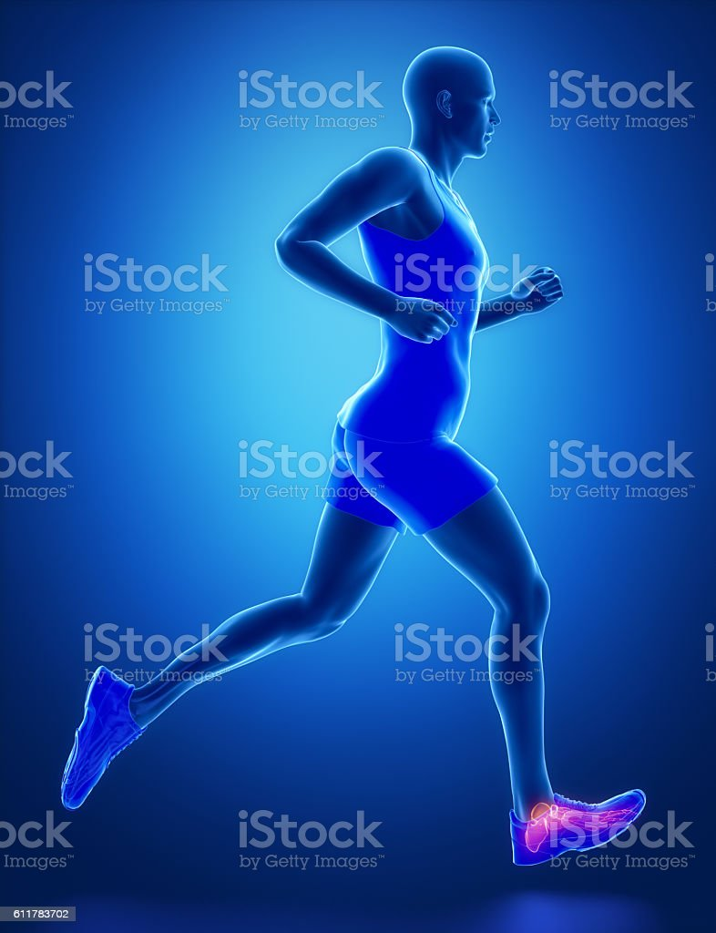 ANkle - running man leg scan in blue stock photo