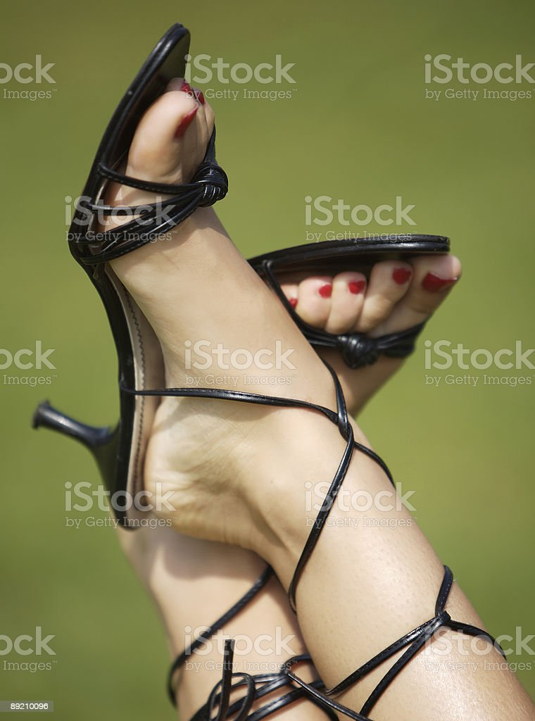 Ankle strap sandals stock photo