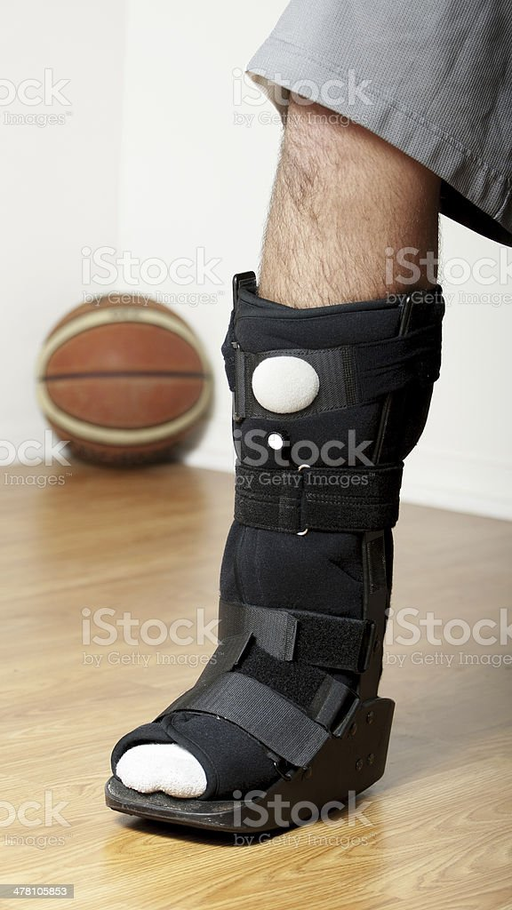Ankle Walker with Pneumatic Pump and Basketball in background royalty-free stock photo