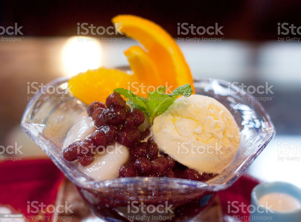 Anmitsu traditional Japanese desserts stock photo