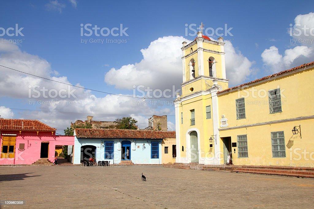 Ann empty colorful town square in Cuba stock photo