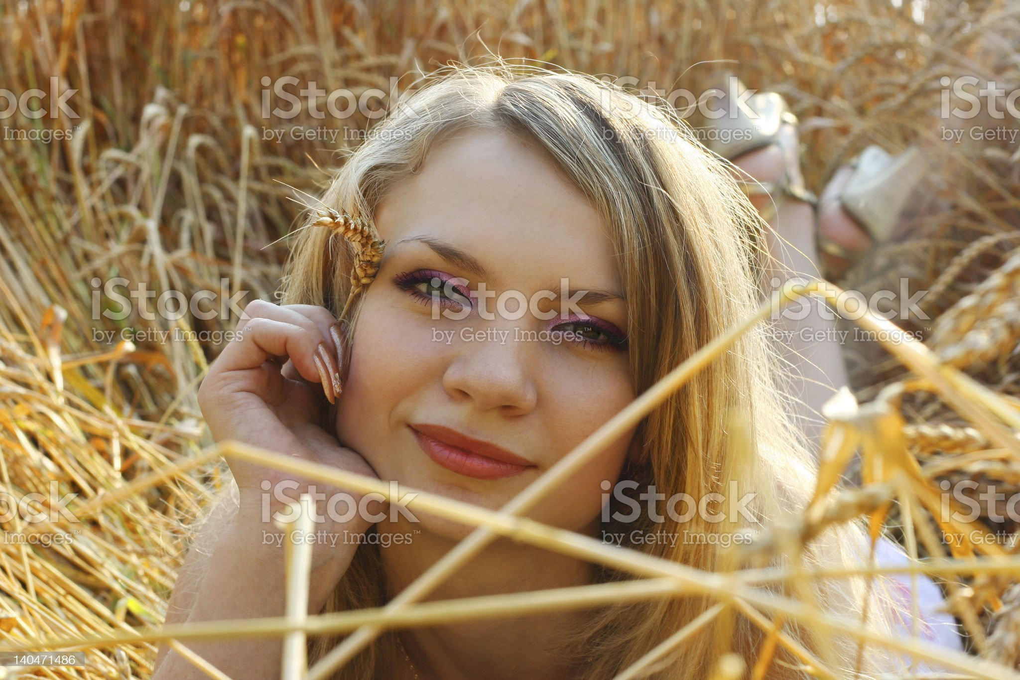 Anna in wheat field 4 royalty-free stock photo