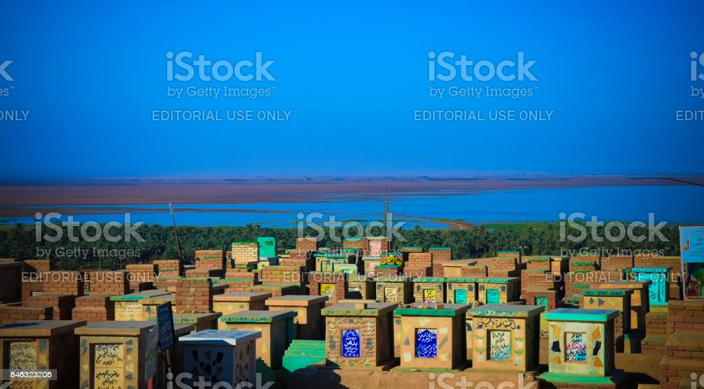 An-Najaf aka Wadi-us-Salaam muslim cemetery, largest in the worl stock photo