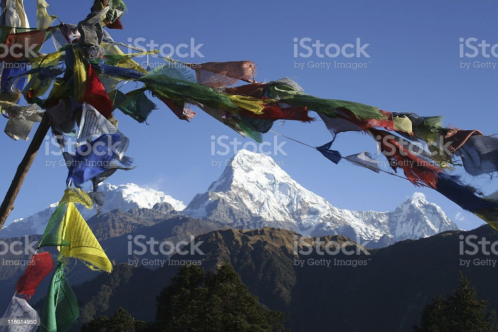 Annapurna framed by prayer flags stock photo
