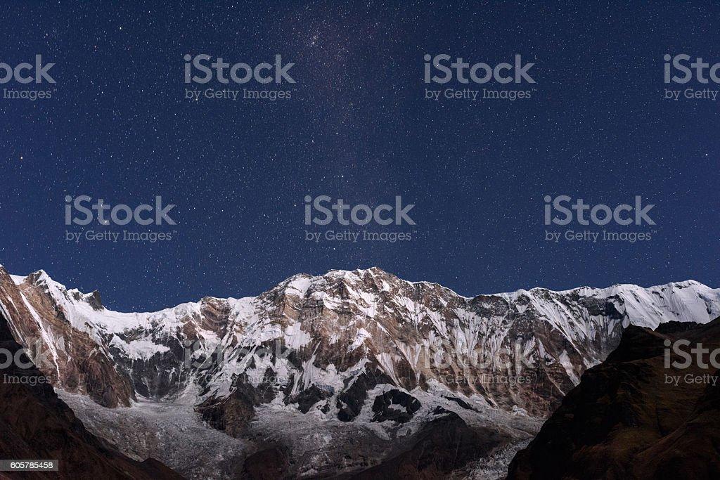 Annapurna I and stars stock photo