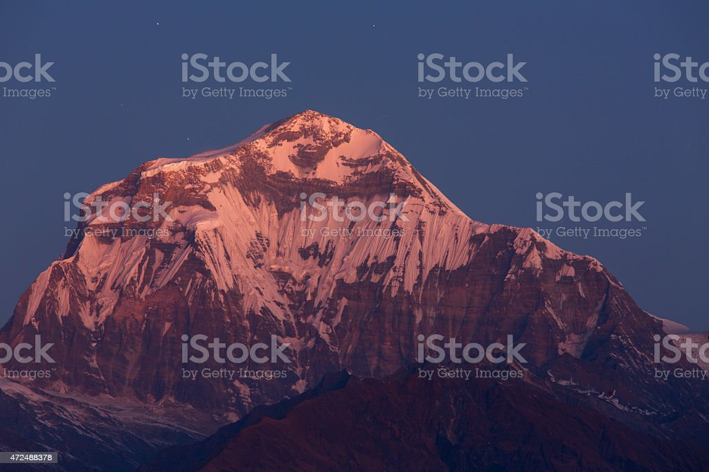 Annapurna I Himalaya Mountains View from Poon Hill 3210m stock photo