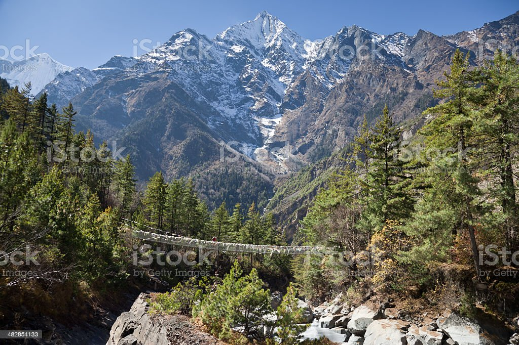 Annapurna II suspension bridge, Nepal royalty-free stock photo