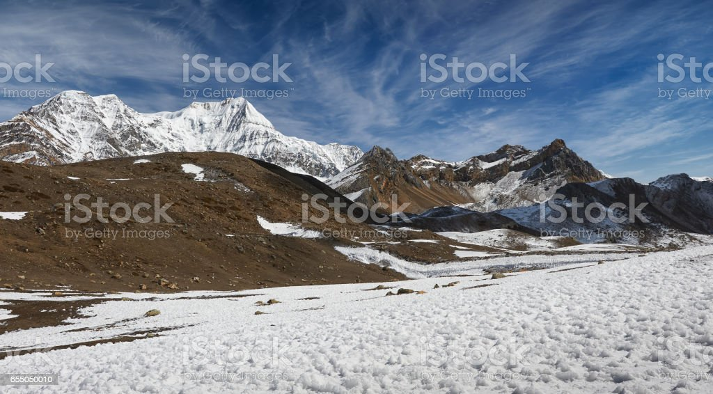 Annapurna mountains in the Himalayas of Nepal. stock photo