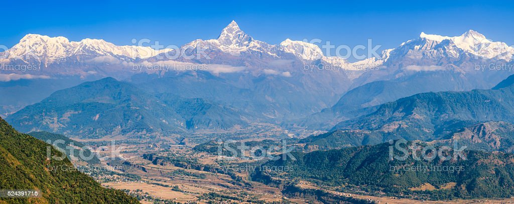 Annapurna Range and Machapuchare from Pokhara, Nepal stock photo