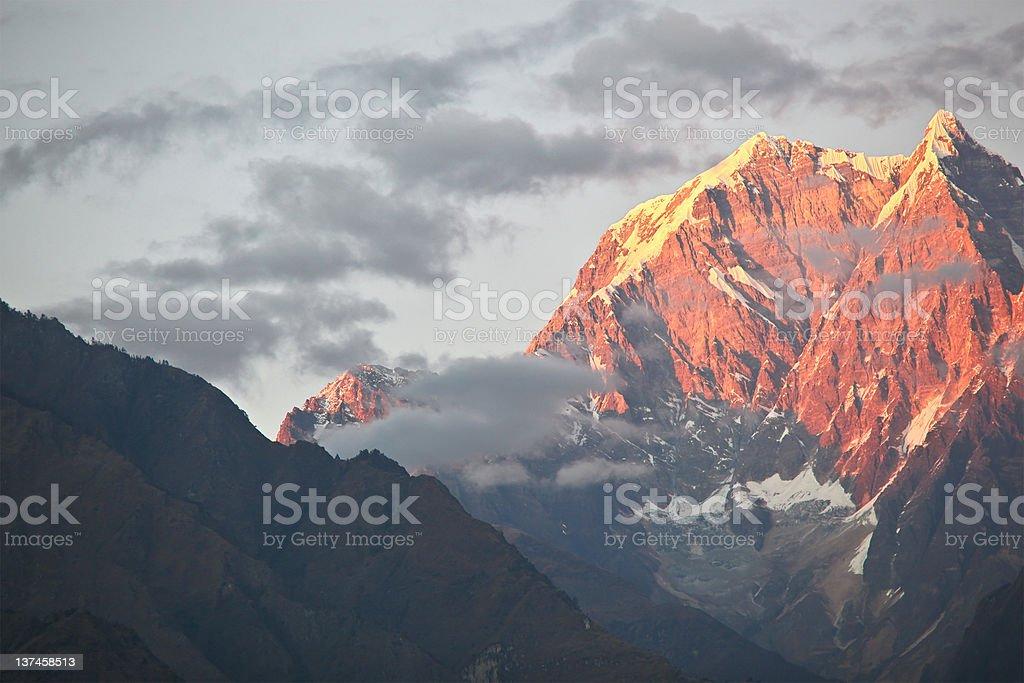 Annapurna range at sunset royalty-free stock photo