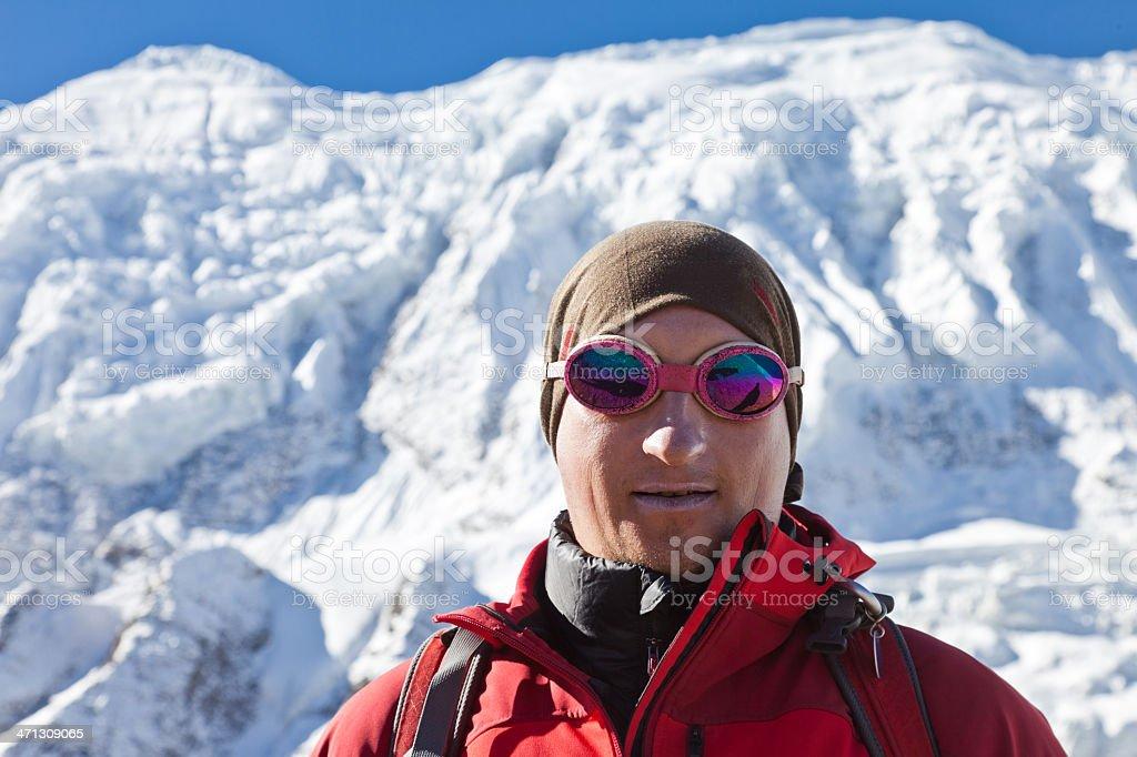 Annapurna Range with alpine guide, Nepal royalty-free stock photo
