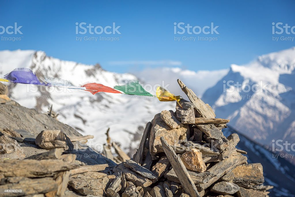 Annapurna Sanctuary Foot Trails and Prayer Flags, Himalaya, Nepal royalty-free stock photo