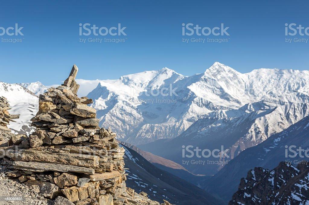 Annapurna Sanctuary Foot Trails Cairn, Himalaya, Nepal royalty-free stock photo