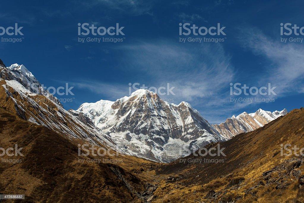 Annapurna South peack in the Nepal Himalaya stock photo
