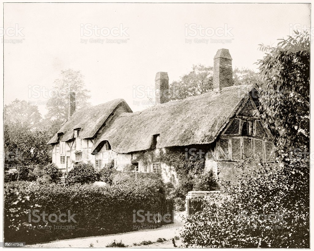 Anne Hathaway's Cottage, England in 1880s stock photo