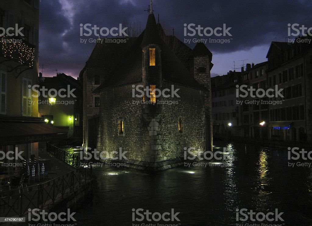 annecy at night stock photo