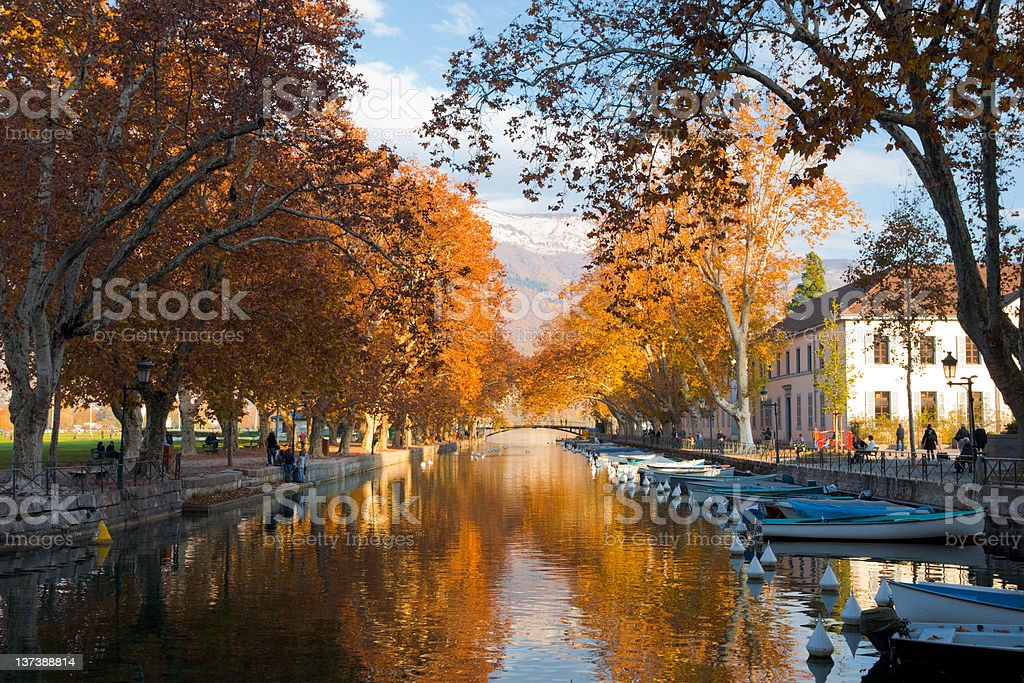 Annecy Canal Fall Colors stock photo
