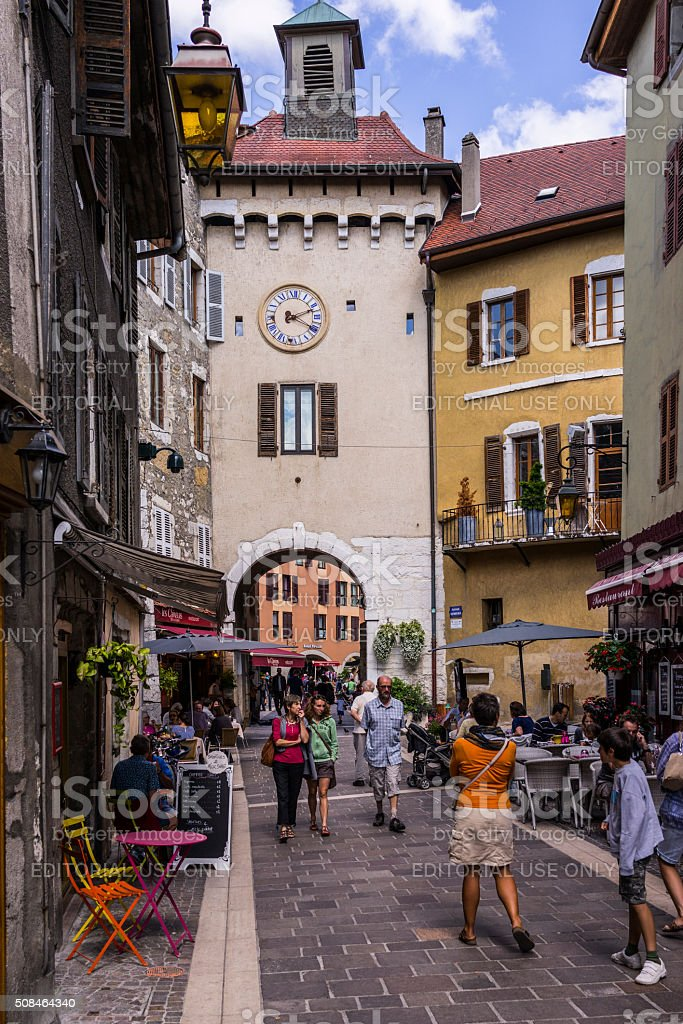 Annecy, France. Buildings and tourists walking in the old town stock photo