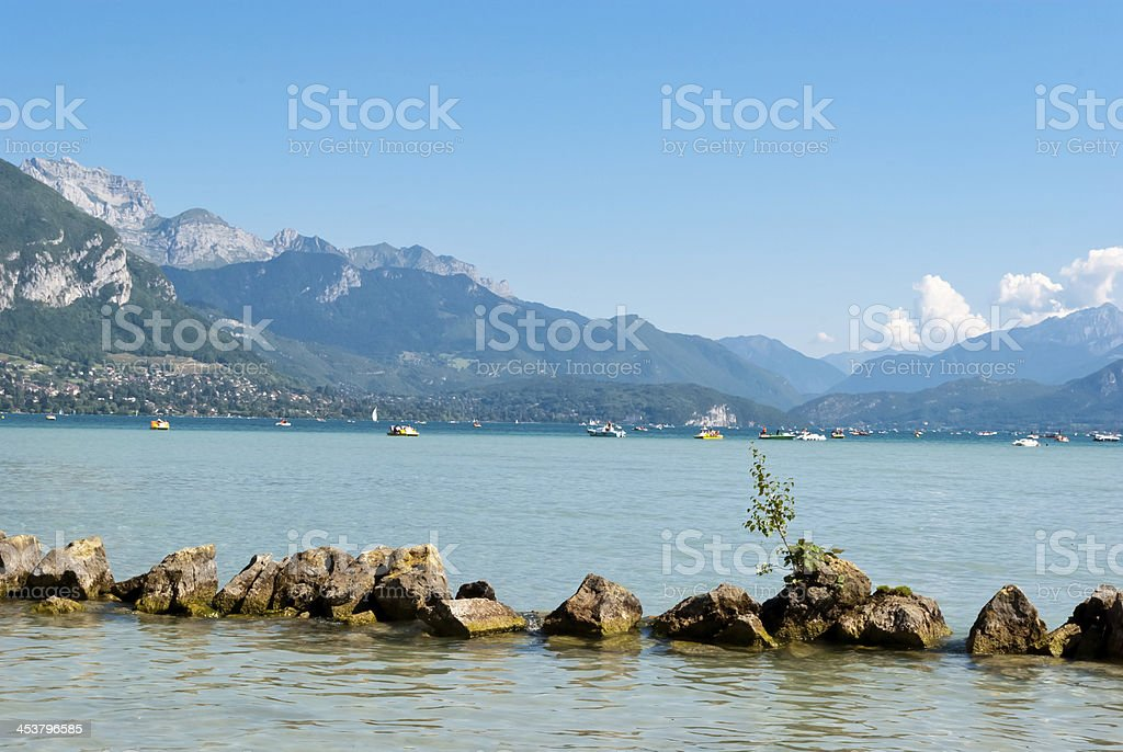 Annecy lake landscape, Savoy, France stock photo