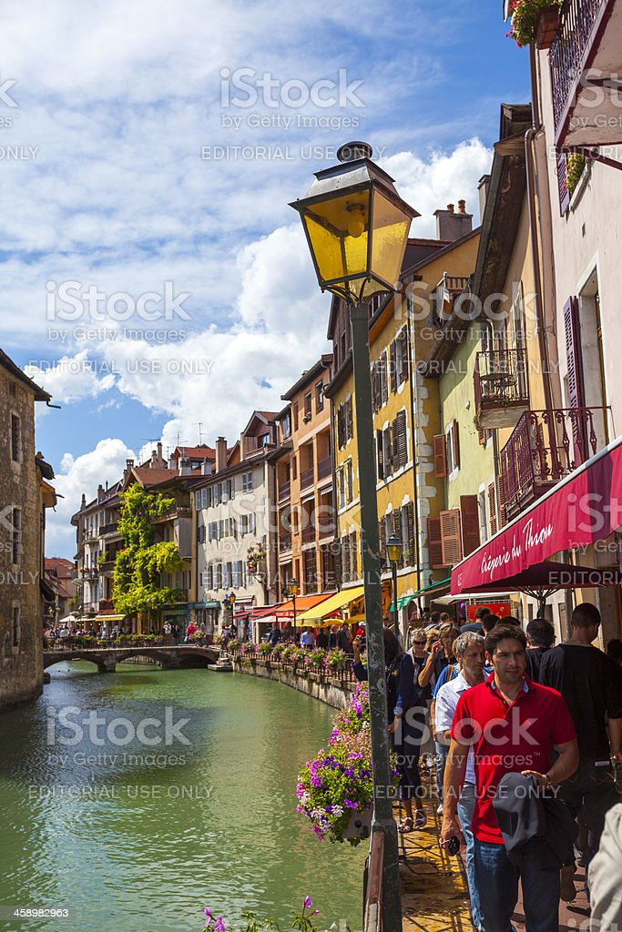 Annecy Riverfront Cafes and Bars, France royalty-free stock photo