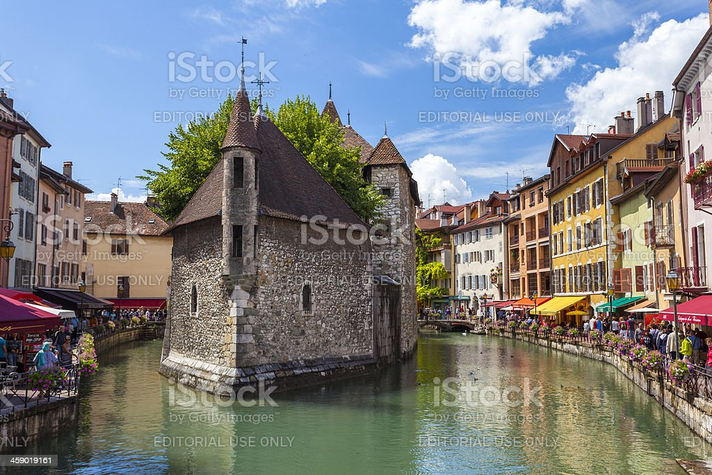 Annecy Riverfront Cafes and Bars, France stock photo