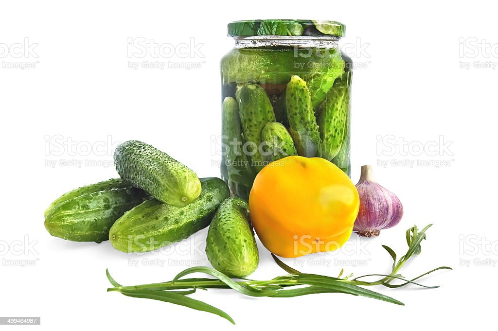 Ñanned cucumber in glass jar royalty-free stock photo