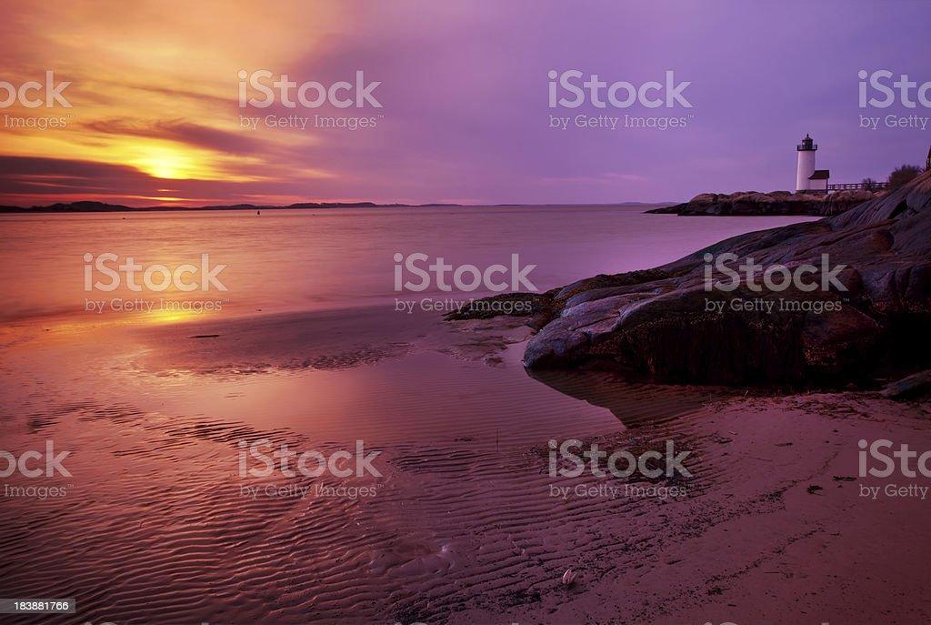 Annisquam Lighthouse Sunset royalty-free stock photo