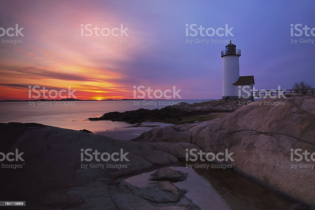 Annisquam Lighthouse Sunset stock photo