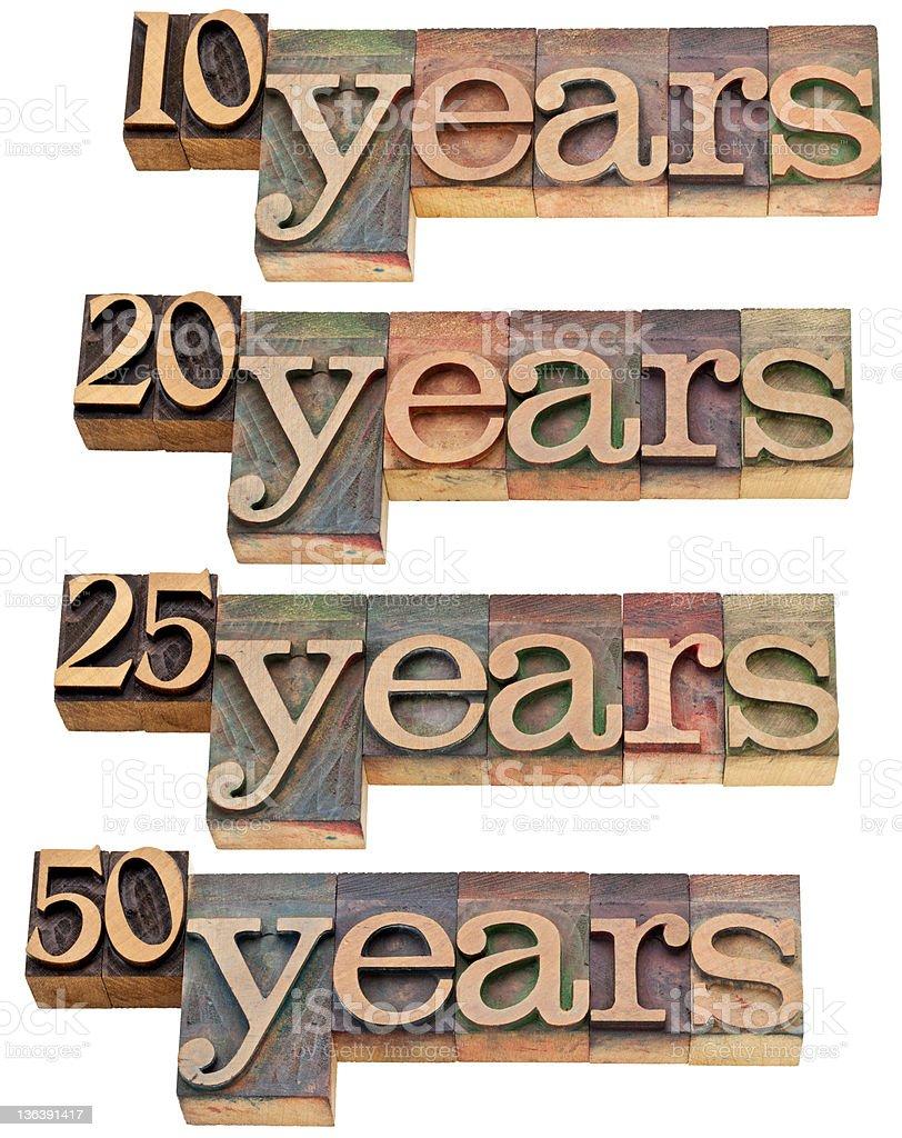 anniversary - 10, 20 ,25, 50 years royalty-free stock photo