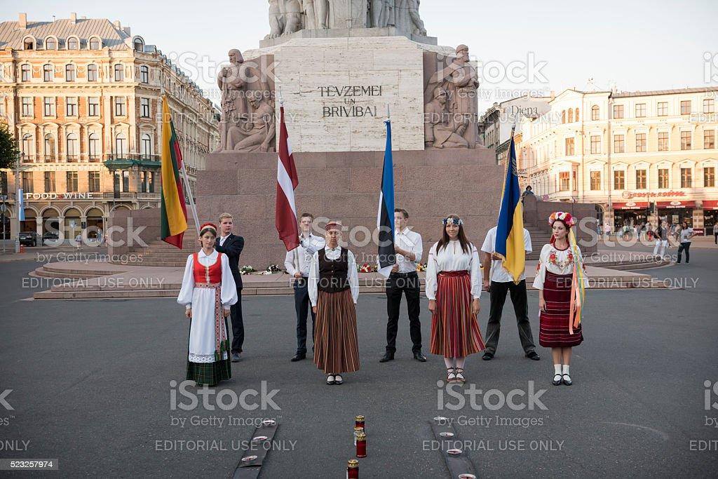 Anniversary commemoration of the Baltic Way in Riga, Latvia stock photo
