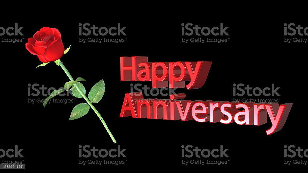 Anniversary greeting card with red rose on black background stock photo